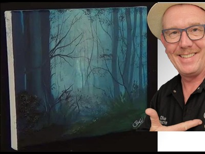 A Misty Forest, Easy, Acrylic painting for beginners,