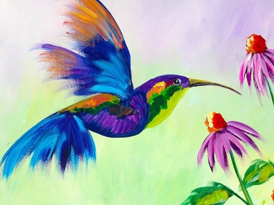 Beginner Learn to Paint A HummingBird and Flower