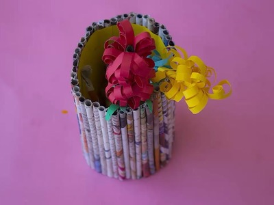 DIY Paper roll Basket or Paperroll Pen Stand by SrujanaTV