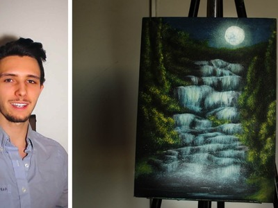 How to paint a waterfall in a moonlit forest! A basic speed painting tutorial of a waterfall