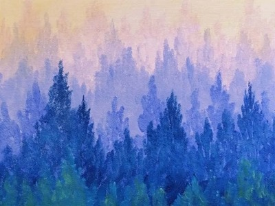 Misty Mountain Ombre Pine Forest Acrylic Painting for Beginners | Inspiration Conspiracy Art Hop