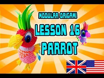 MODULAR ORIGAMI  LESSON №16  PARROT
