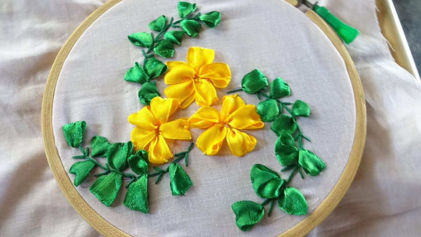 Embroidery ribbon flower stitching by amma arts my crafts