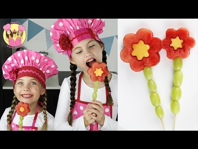 HEALTHY FRUIT FLOWER POPS - Easy watermelon kebabs tutorial by Charli's Crafty Kitchen