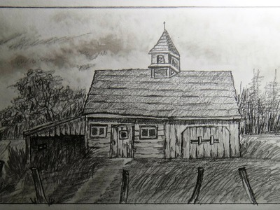 How to draw an old barn (old farm house) - Part 1