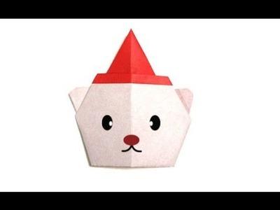 Origami Christmas Bear Santa. (Full HD)