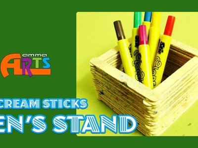 Pen Stand with Ice Cream Sticks (Popsicle Stick Pen Holder) - Amma Arts