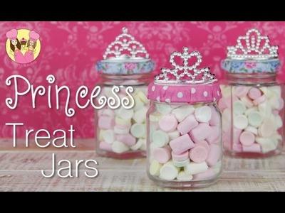 PRINCESS PARTY TREAT JARS - Sleeping beauty or Cinderella Disney Princess party idea
