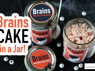 Brains Cake in a Jar - Halloween Party Fun Food Dessert Recipe