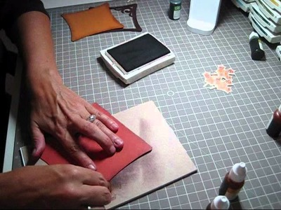 Homemade inkpad with baby wipes used in Cricut Art Philosophy fall card