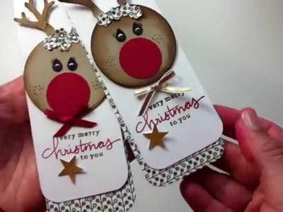Punch art reindeer + Tree Builder Punch Stampin Up