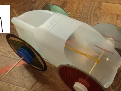 Rubber Band Powered Milk Bottle Car