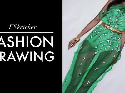 CHIFFON DRESS, LACE WITH CRYSTALS   Fashion Drawing