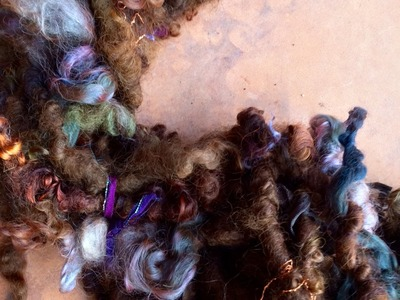 Handspinning an Art Yarn; Mochachino and Denim Scrapbox