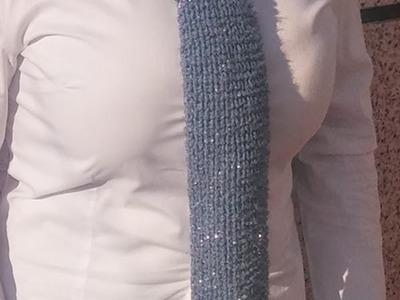 Necktie with heart stitch on rectangular loom