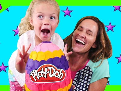Opening a Large Play Doh Surprise Egg - Toys Inside Out Disney Princess MyLittlePony Shopkins Frozen