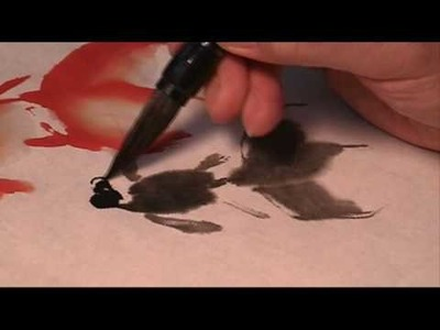 Basic Strokes of Painting Goldfish in Sumi Ink and Watercolor