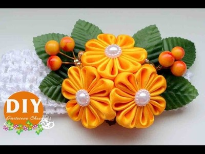 DIY.Kanzashi flower tutorial. Headband hair.Flowers from ribbon.