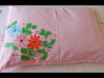 Easy method of FABRIC PAINTING: Making a floral pillow in minutes