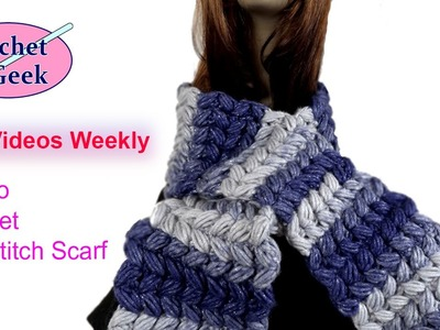 How to #Crochet Slanted Puff Stitch Scarf Tutorial Right Hand