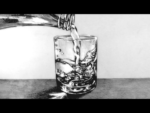 How to Draw a Glass of Water with water pouring into it: Narrated