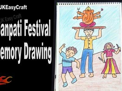 How to draw Ganpati Festival |  Memory Drawing How to draw Ganesha | JK Easy Craft 159