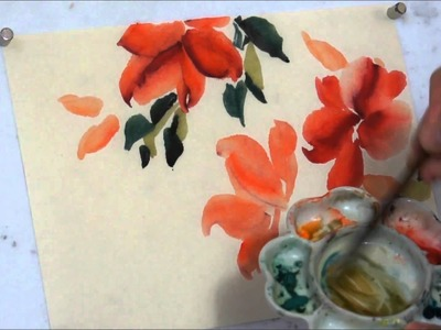 How to Paint Red Hot Hibiscus Chinese Watercolor Painting Tutorial(HD)
