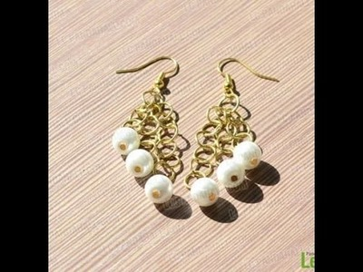Jewelry Making - Easy Steps to Make Pearl Dangle Earrings + Tutorial .