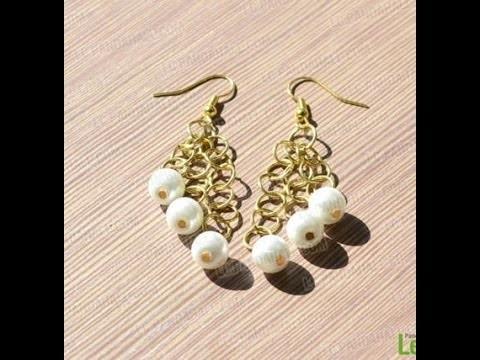 Jewelry Making - Easy Steps to Make Pearl Dangle Earrings + Tutorial .