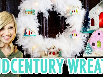 Midcentury Winter Wreath with LED Glitter Putz Houses