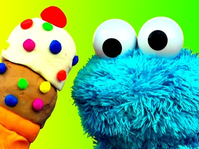 Play Doh Ice Cream Cone Surprise Cookie Monster Loves Ice-Cream Cones & Sweet Cookies! Sesame Street