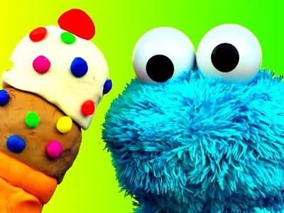 Play Doh Ice Cream Cone Surprise Cookie Monster Loves Ice-Cream Cones & Sweet Cookies! Sesame Street
