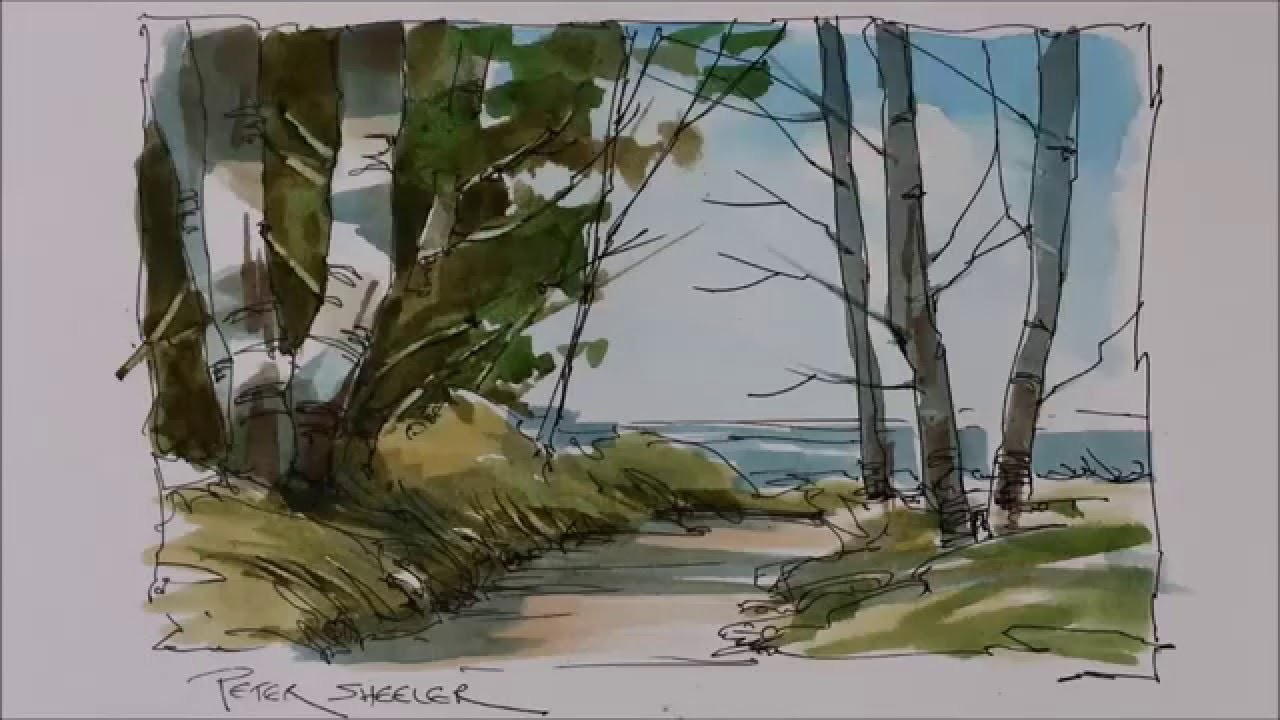 A Pen and Wash Watercolor tutorial of a Trail To the Lake. Very easy and fun to follow
