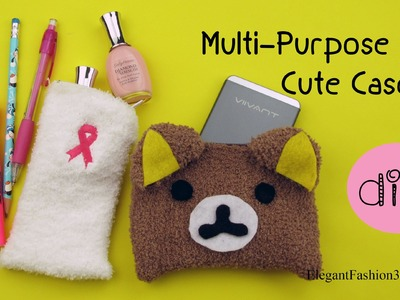 DIY: How to Make Multi-Purpose cute case(No Sew).iphone.Phone Charger.Make Up.Pencil Case