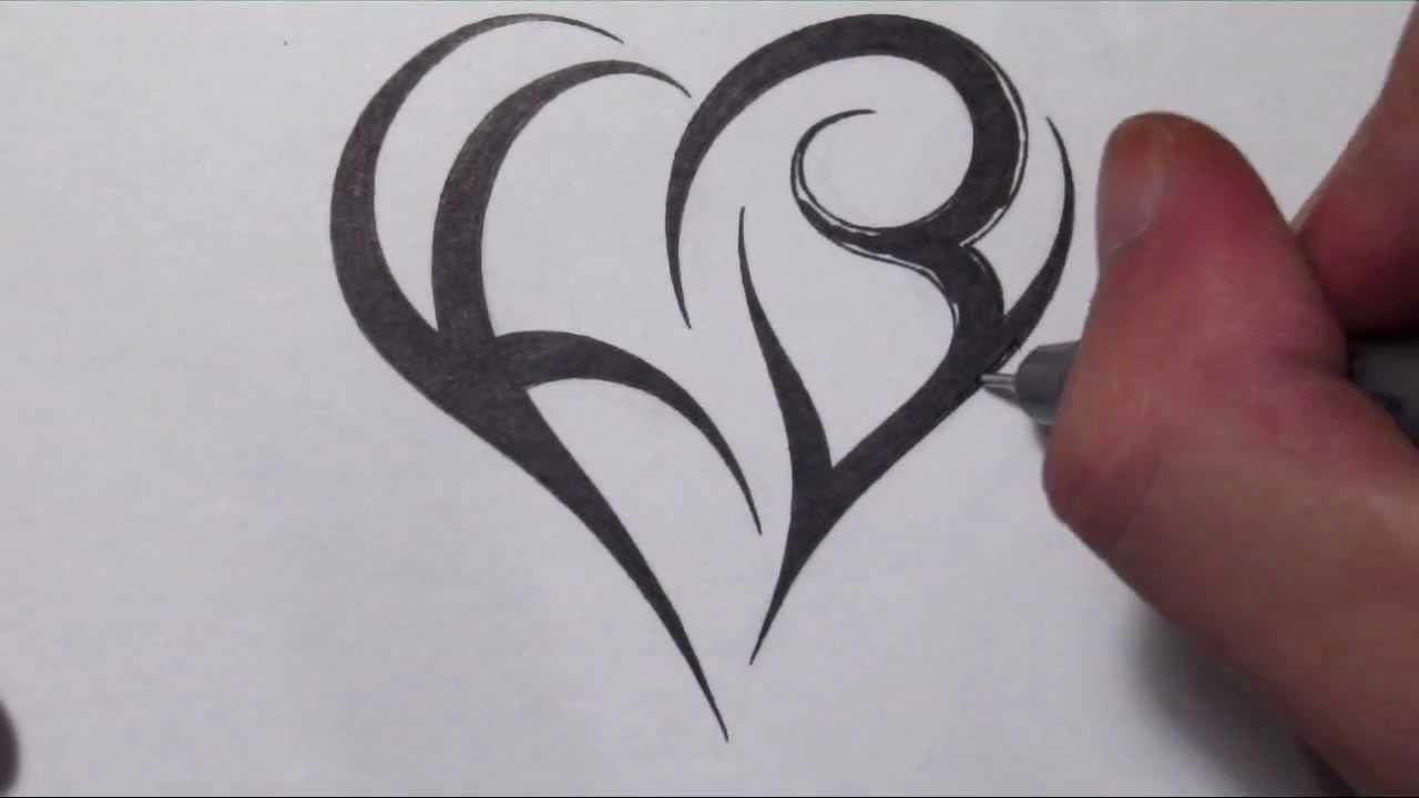 how to create a heart using letters tribal initials