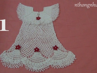 How to crochet a baby dress - Pattern 4 (1.4) (engsub)