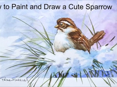 How to paint a cute little Sparrow. Winter bird painting tutorial. With Peter Sheeler