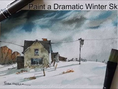 How to paint a dramatic sky demonstration. Winter sky. Evening Sky. Winter farm. With Peter Sheeler