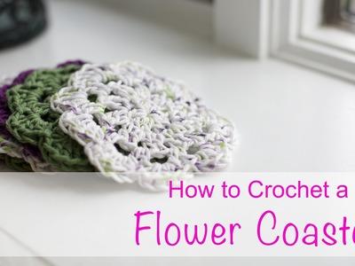 Learn How to Crochet a Flower Coaster - Easy Basics Beginner - Chain Double Crochet V-Stitch