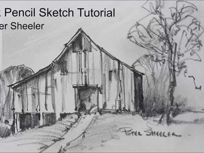 Sketching Tutorial with Pencil. Quick and easy techniques. Barn sketch by Peter Sheeler