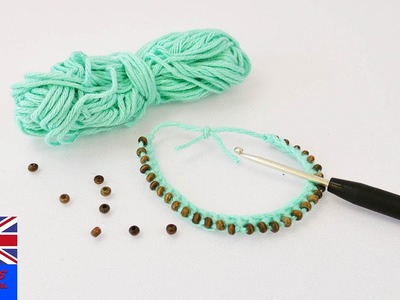 TURQUOISE BEADS BRACELET! Crocket a bracelet with beads through