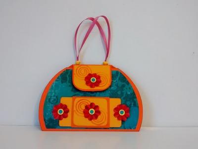 Art and Craft: Pop up flower Hand Bag card. Mother's day pop up flower card
