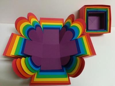Art and Craft: Surprise Explosion Box. Rainbow Explosion Box