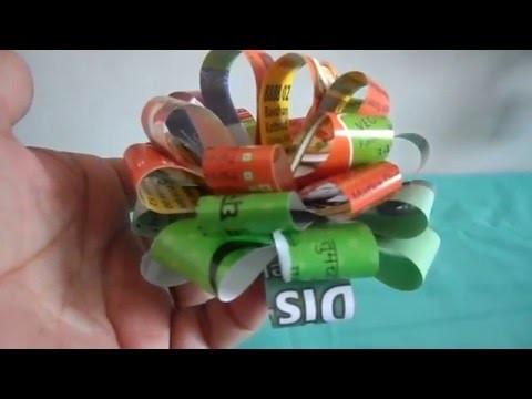 DIY Craft for kids,Newspaper  flyers ribbon flower,   2016