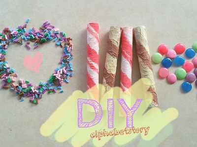 DIY Craft: Ice Cream Topper (wafer stick, m&m's, sprinkles) NO POLYMER CLAY | alphabetstory