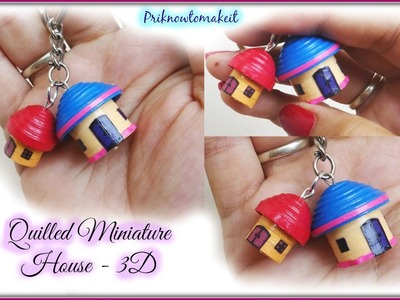 Quilling miniature House in 3D | DIY Craft | key chain. bracelet charm