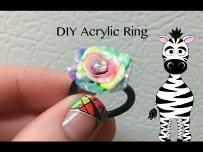 3D Neon Rose Ring Acrylic Nail Art Tutorial | DIY