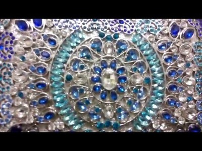 DIY Beaded Blue Box Clutch Bag Wholesale Swarovski Crystal Evening Bag Purse