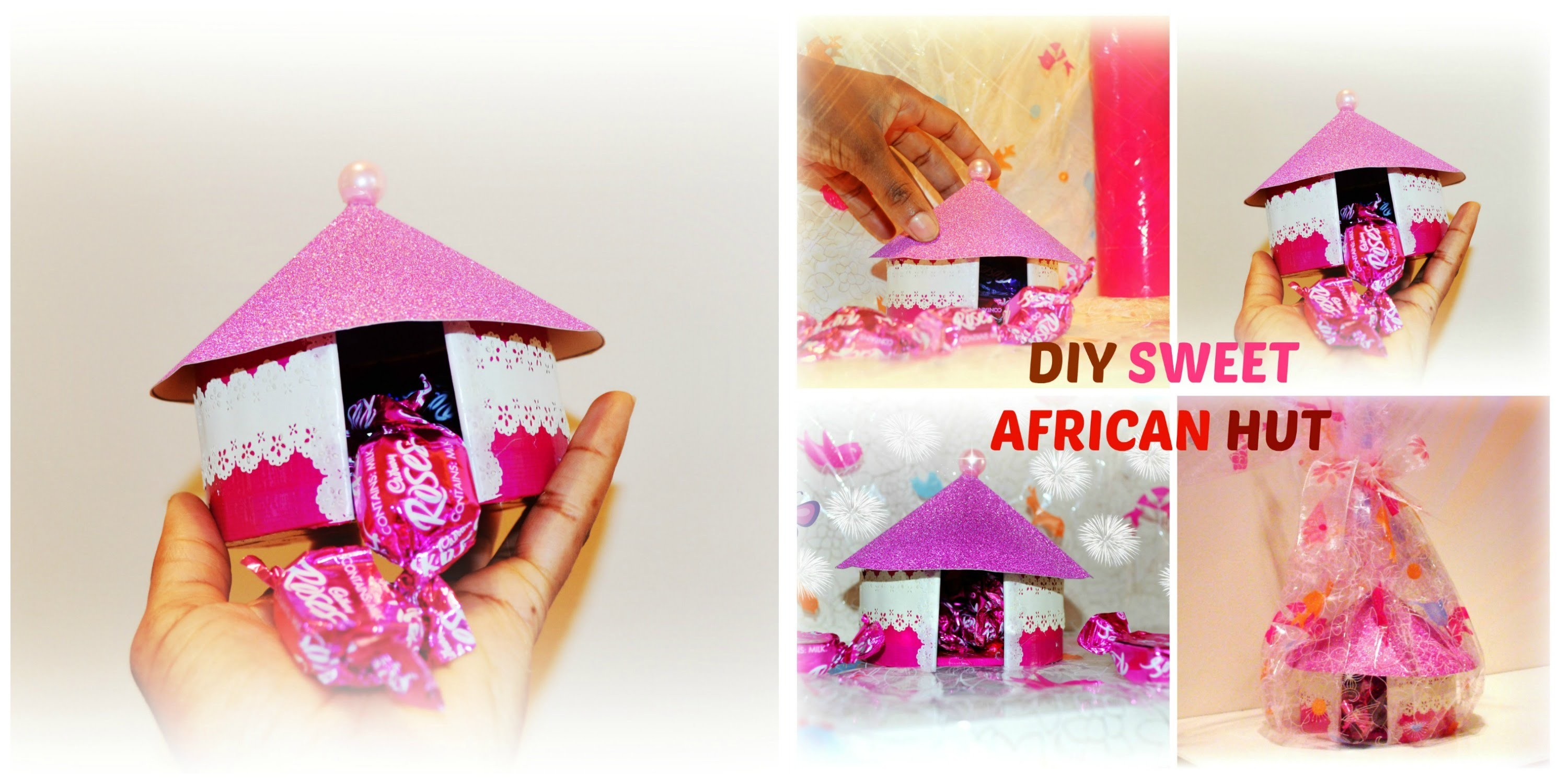 Diy Crafts : How to make a gift cardboard box African sweet hut, easy project.
