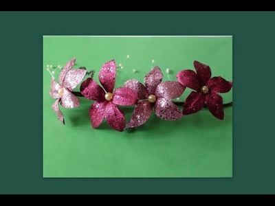 Diy Handmade flowers with glitter rexin